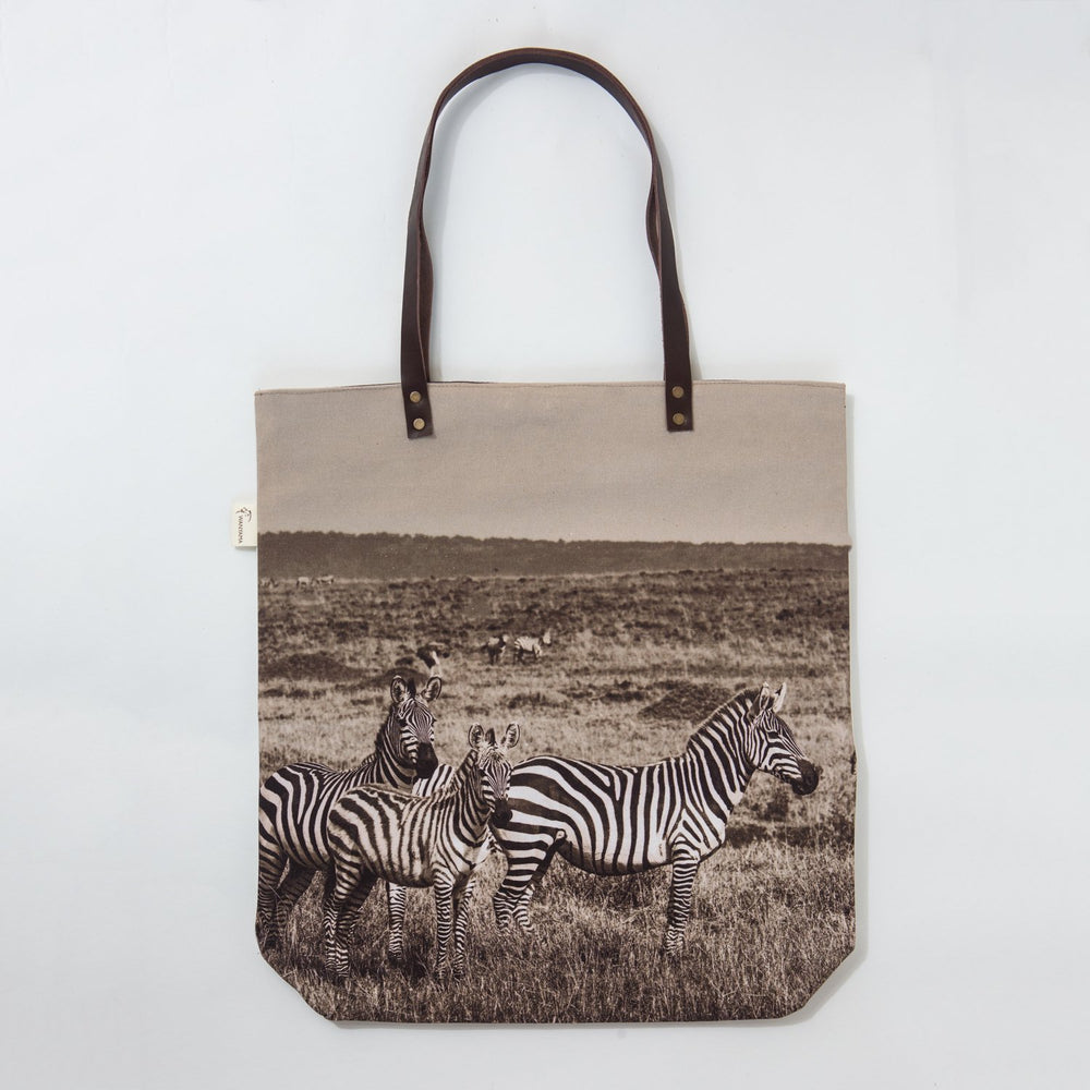 African Fine Art Tote Bag Canvas Zebra Family