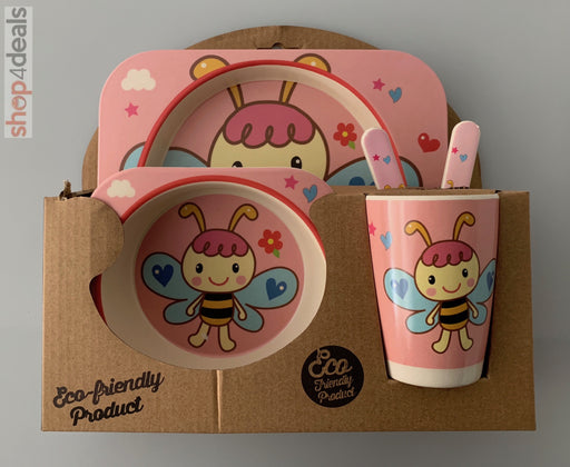 Hello Home Bamboo Baby Feeding Set Bee Pink