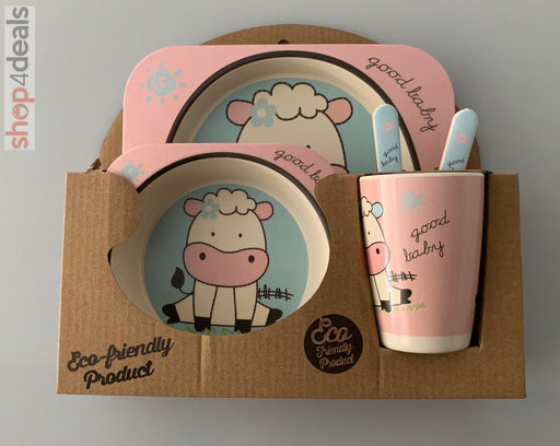 Hello Home Bamboo Baby Feeding Set Cow Blue and Pink
