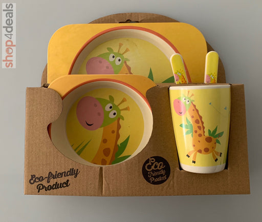 Hello Home Bamboo Baby Feeding Set Giraffe Yellow