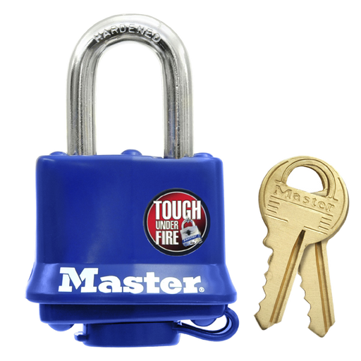 Master Lock Laminated Steel Padlock Blue Weather Cover Keyed Alike 40mm Padlock