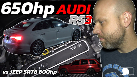 650hp AUDI RS3 vs 600hp JEEP SRT 8 supercharge