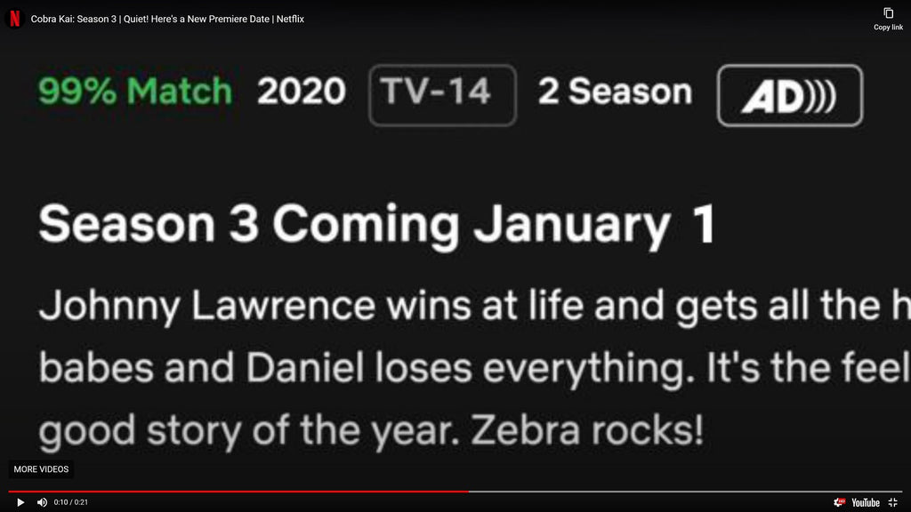 Cobra Kai will now debut on Netflix on January 1-----