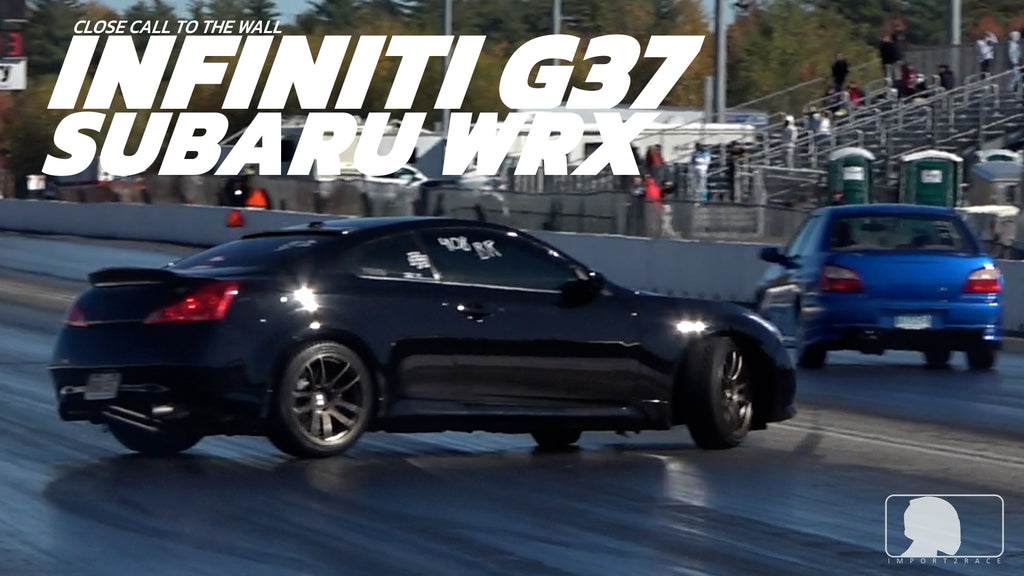 INFINITI G37 vs Subaru Wrx Close call to the wall