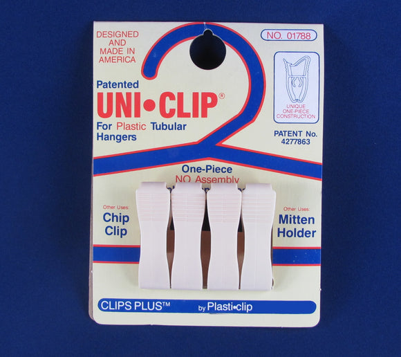 Uni•Clip® 300 Universal Clip, Chip Clip, Holder, Hanger, One Piece All Plastic 4 Pack