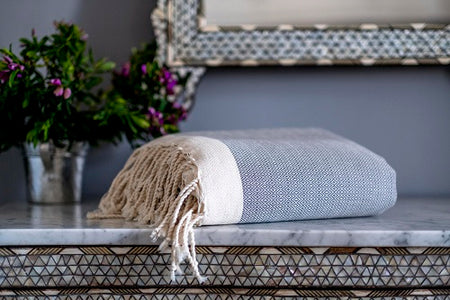 Cotton Throw Herringbone with fringes