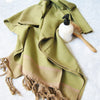 Large cotton hammam towel. Olive and sand colored honeycomb pattern