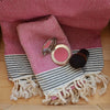 honeycomb_ Hammam Cotton Guest Bathroom Towel_  fushia