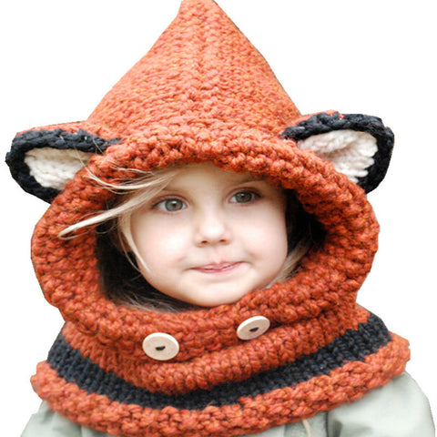 Kids hat Scarf winter with Fox Ears Handmade