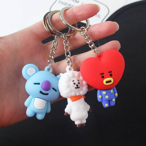 Cute 3D Cartoon Silicone Keychains