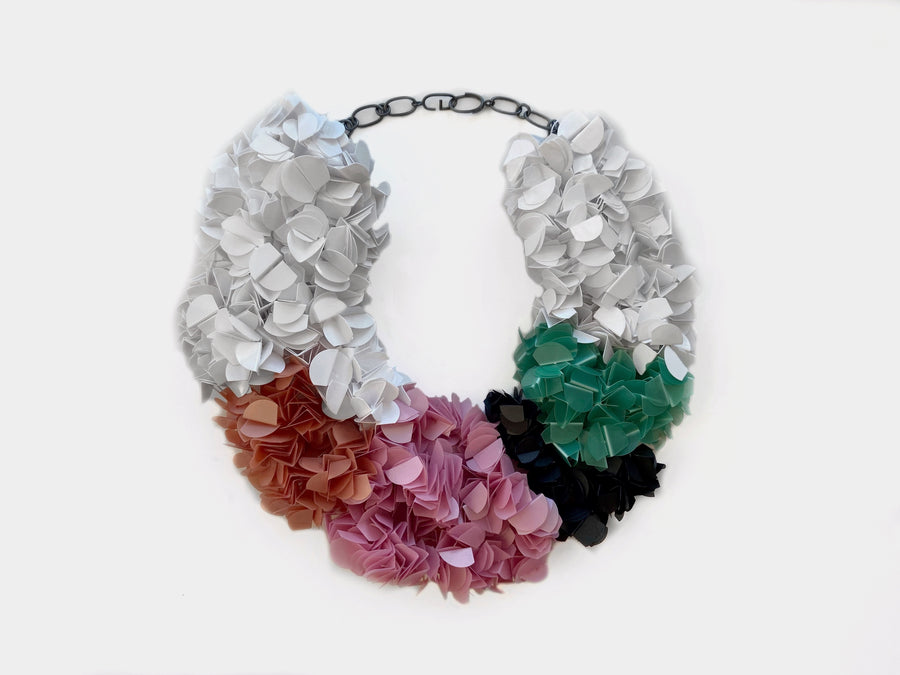 Utopia Palette White, Black, Green, Pink and Orange Fluffy Necklace