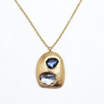 Double Sapphire Tablet Necklace