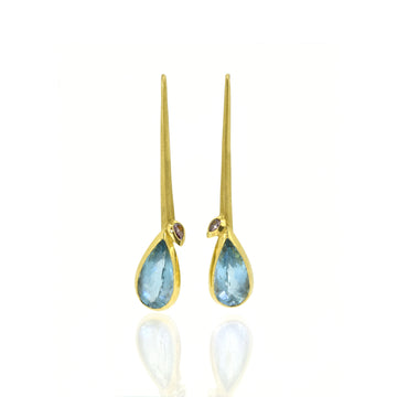 Aquamarine & Diamond Forged Drops