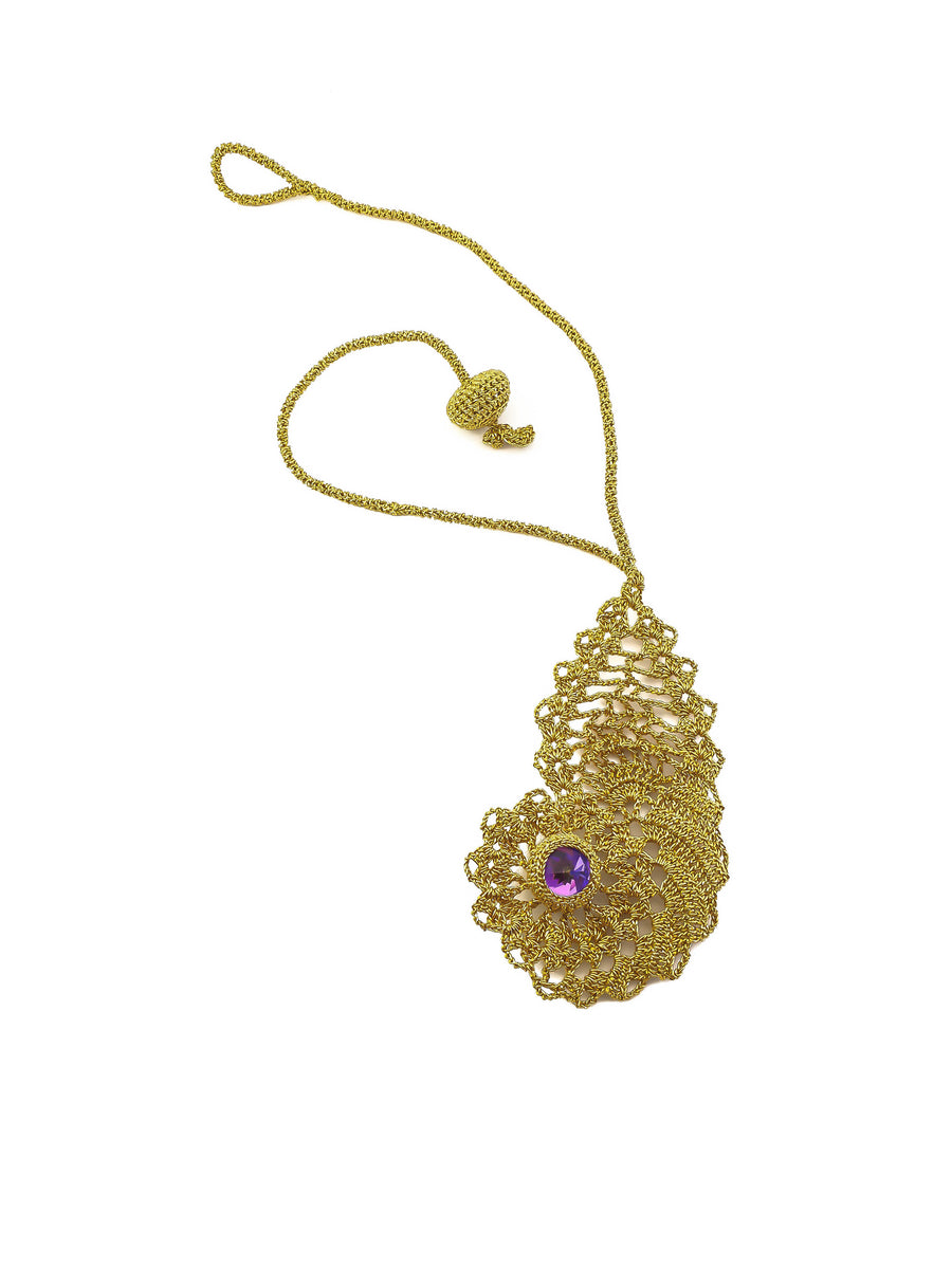 Paisley Motif Crochet Pendant Necklace with Purple Dome Swarovski Stone