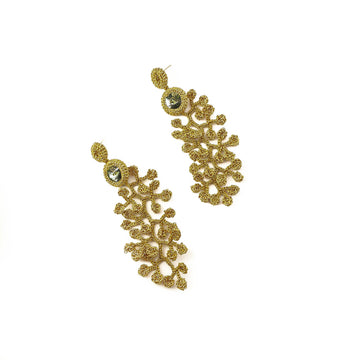 Trail of Leaves Dark Gold Crochet Earrings With Autumn Green Preciosa Crystals