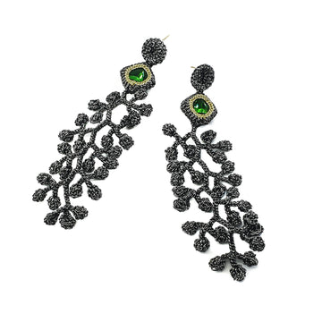 Trail Of Leaves Black Crochet Earrings With Emerald Swarovski Crystals