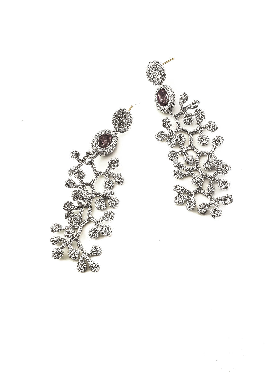 Trail of Leaves Silver Crochet Earrings with Light Rose Swarovski Crystals