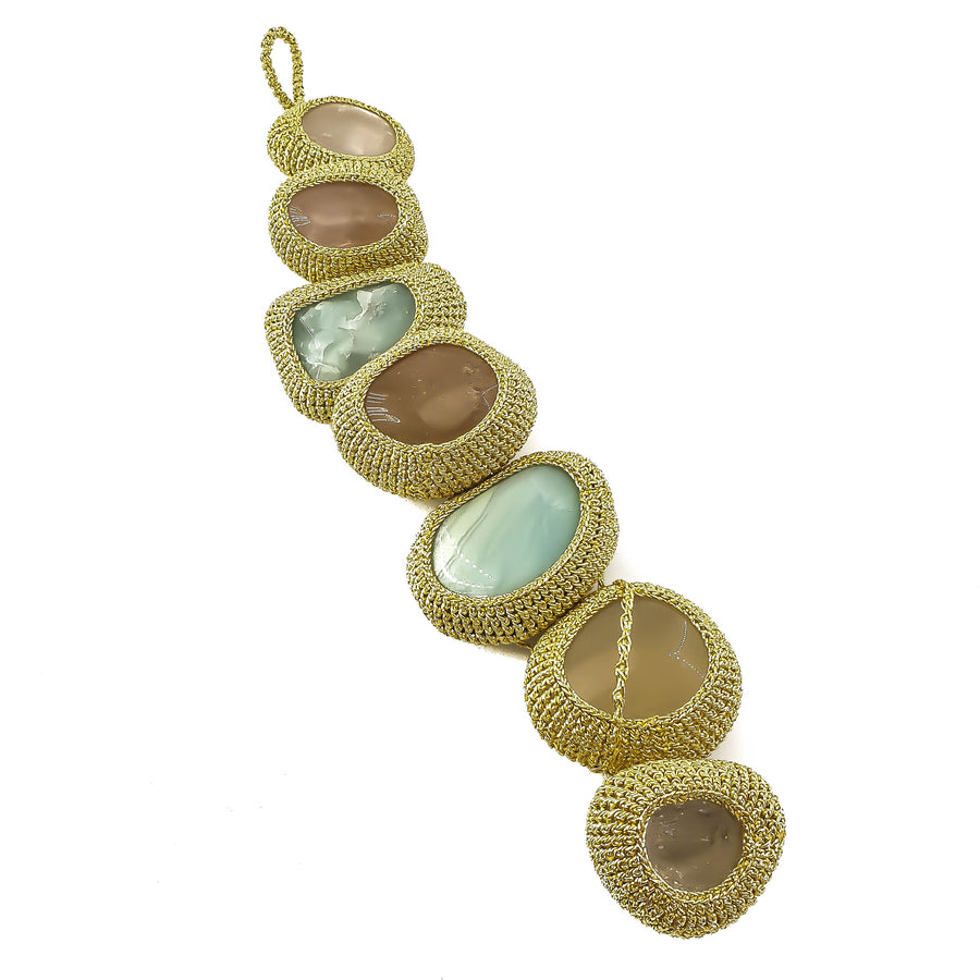 Mother Earth Gifts Light Gold Crochet Bracelet with Amazonites, Moonstones and Quartzes