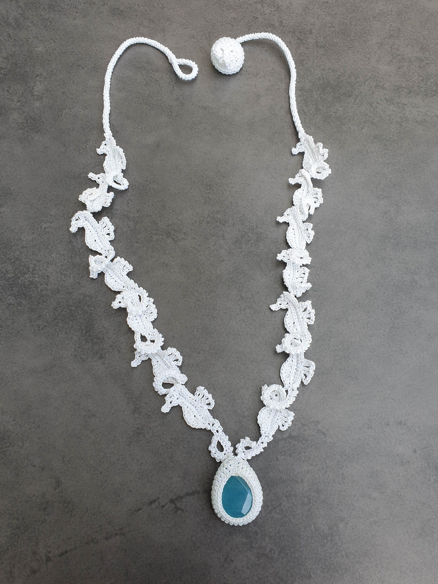 White Seahorses Crochet Necklace with Colored Jade