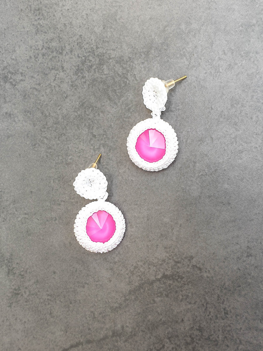 Summer Fun White Crochet Earrings With Swarovski Crystals