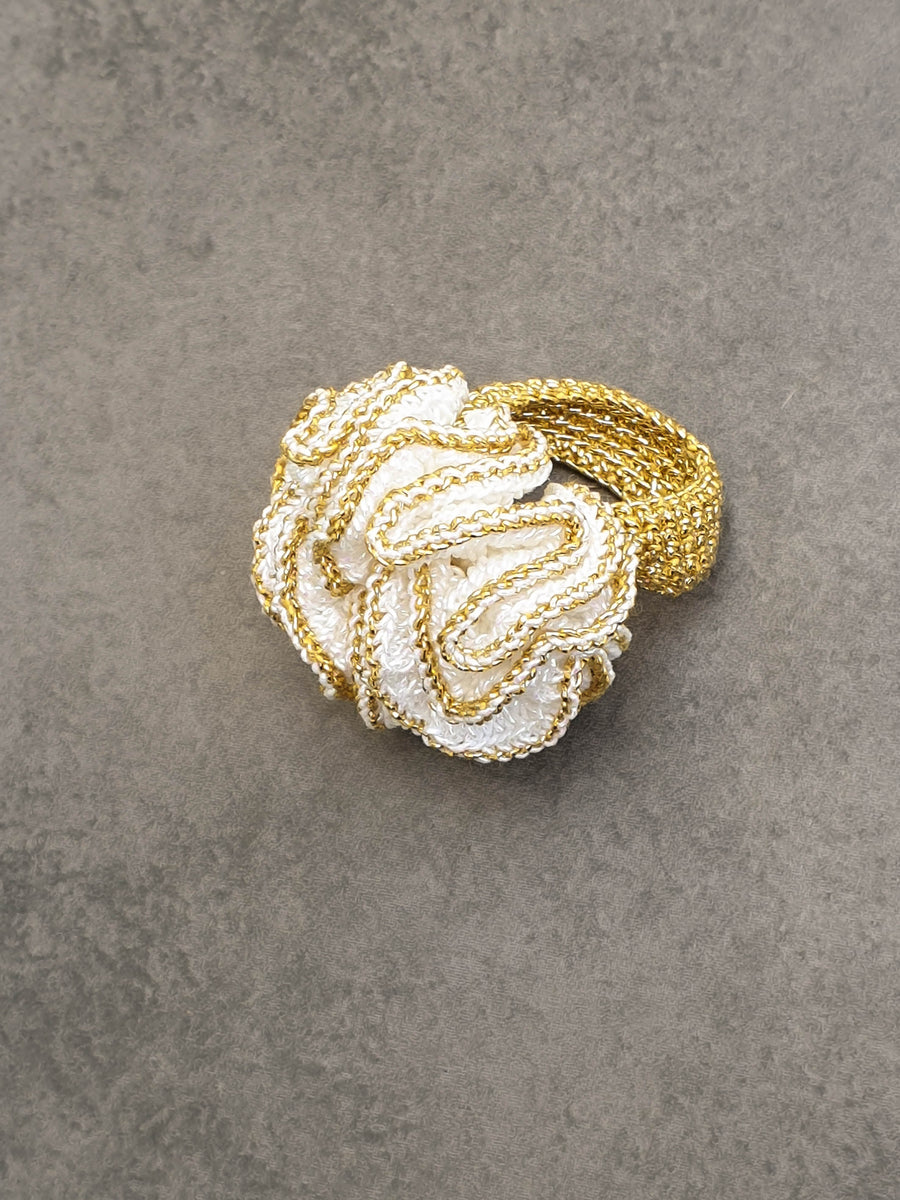 Free-form White And Light Gold Crochet Ring