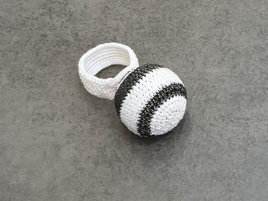 Lollipop Black and White Crochet Ring
