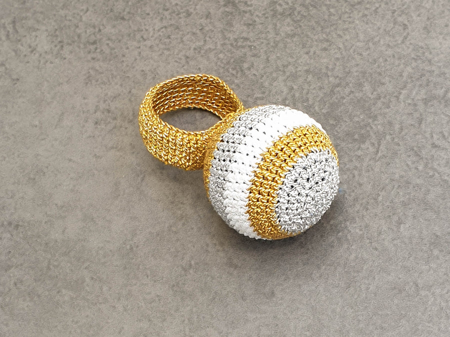 Lollipop Silver, Dark Gold and White Crochet Ring