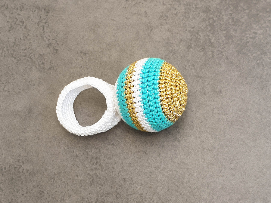 Lollipop Light Gold, Turquoise and White Crochet Ring
