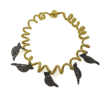 Black Birds Light Gold Spiral Necklace