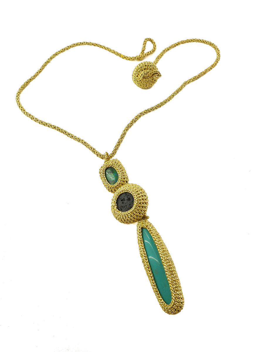 Classic Pendant with Turquoise Howlite, Black Lava and Eilat Stone