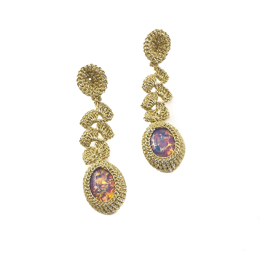 Indian Summer Crochet Earrings Vintage Glass Opal Cabochons