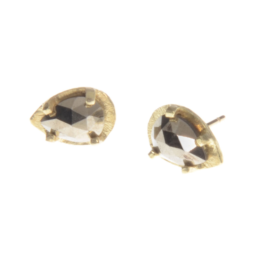Carved Prong Set Pyrite Earrings