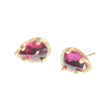 Carved Prong Set Rhodolite Earrings