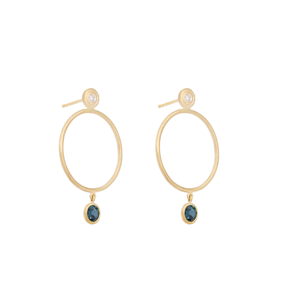 Blue Sapphire Sliver Earrings