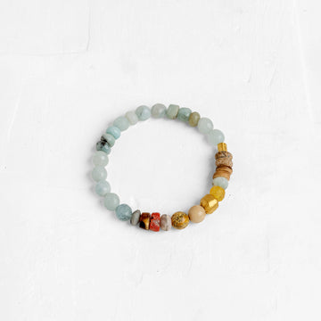 Gemstone Bracelet in Light Blue/Brown Mix With a 24K Wrapped Stone