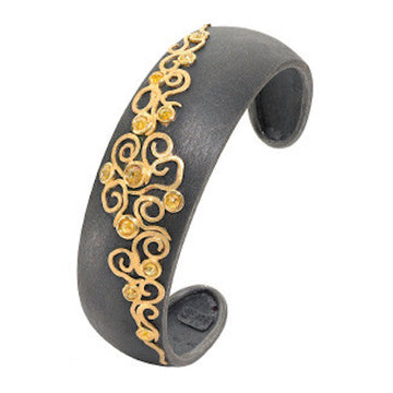 Gold & Oxidized Silver Cuff with Natural Rose Cut Diamonds