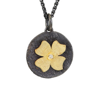 Gold Flower & Oxidized Silver Pendant with Diamond
