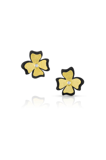 Gold & Oxidized Silver Flower Earrings