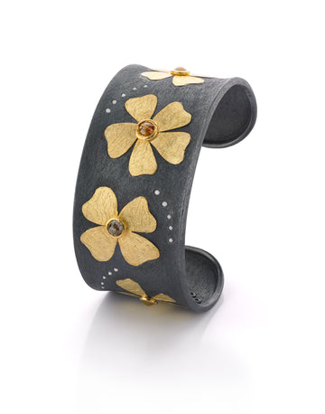Oxidized Silver and Gold Floral Cuff