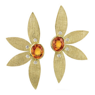 Gold Half Flower with Diamonds & Sapphire Earrings
