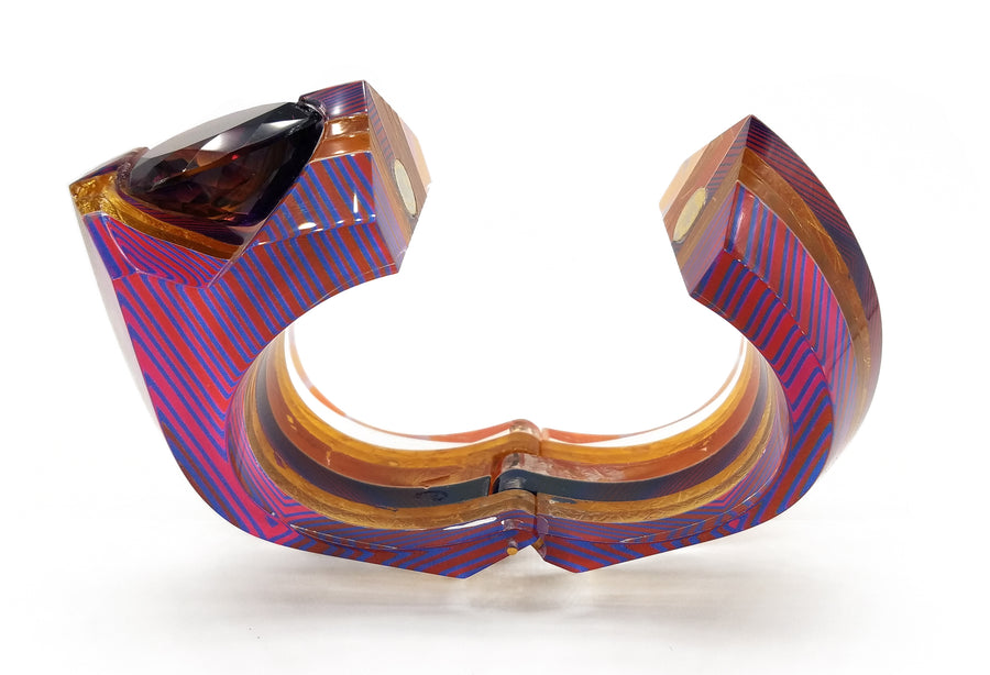 Op Art and Gold Channel Set Hinge Bracelet