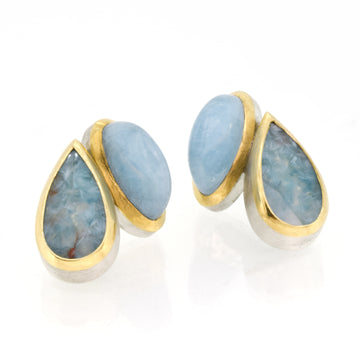 Aquamarine, Paraiba Quartz, 18kt Gold & Silver Stud Earrings