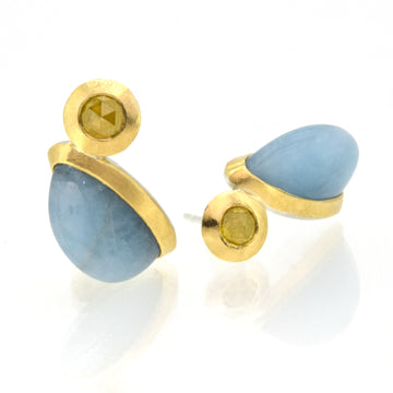 Aquamarine, Diamond, 18kt Gold & Silver Stud Earrings