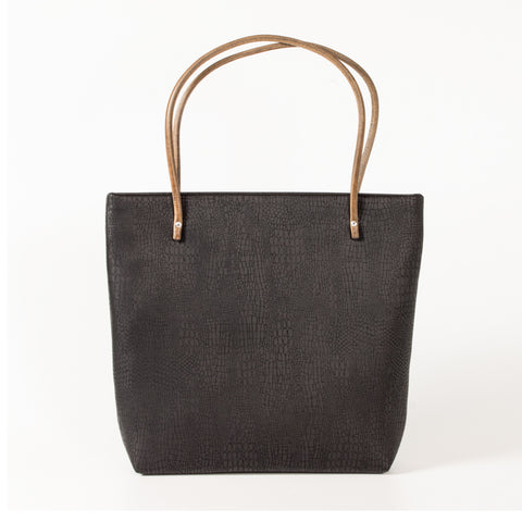 Black Reptile Large Tote