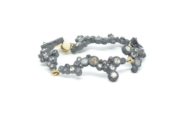 Oxidized Silver and Diamond Bracelet
