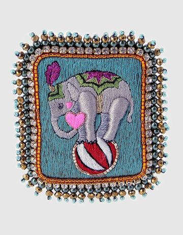 Elephant on Ball Brooch