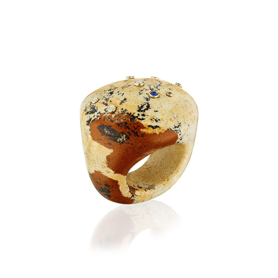 Beige Jasper Large Bubble Ring