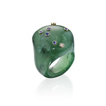 Mini Green Jade Bubble Ring