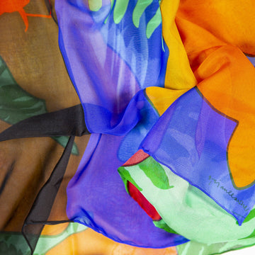 Silk Chiffon scarf - FLOWERS FOR ZAHA