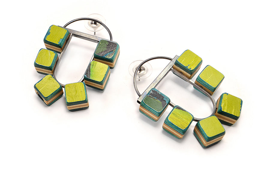 6-Cube Post Hoop Earrings